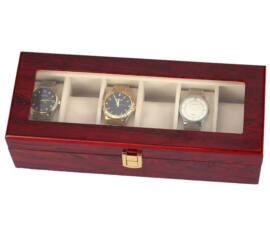 LUXUS Mahagóni Fa óratartó doboz 6 db órához - rkt