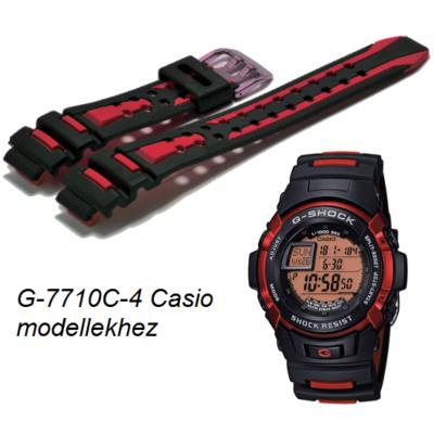 G-7710C-4 Casio fekete-piros műanyag szíj