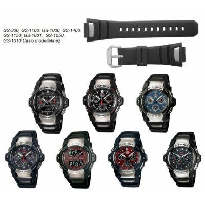 GS-300, GS-1100, GS-1000, GS-1400, GS-1150, GS-1001,  GS-1050, GS-1010 Casio fekete műanyag szíj