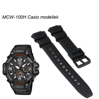 MCW-100H Casio fekete műanyag szíj