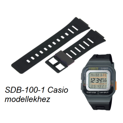 SDB-100-1 Casio fekete műanyag szíj