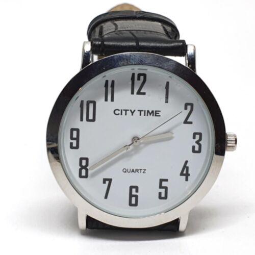 Nemesacél City Time karóra fekete bőr szíjjal