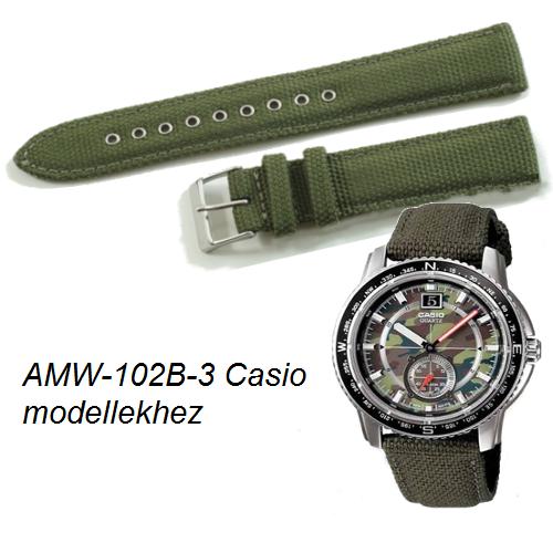AMW-102B-3 Casio zöld szövet szíj