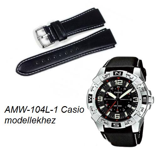 AMW-104L-1 Casio fekete bőrszíj