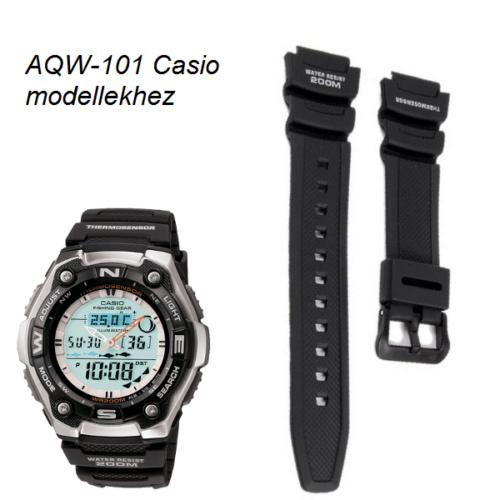 AQW-101 Casio fekete műanyag szíj