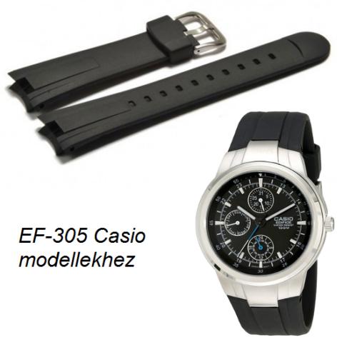 EF-305 Casio fekete műanyag szíj - rkt