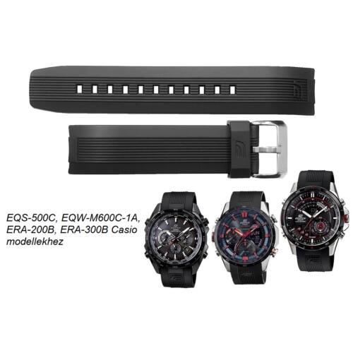 EQS-500C, EQW-M600C-1A, ERA-200B, ERA-300B Casio fekete műanyag szíj