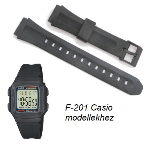 F-201 Casio fekete műanyag szíj - rkt