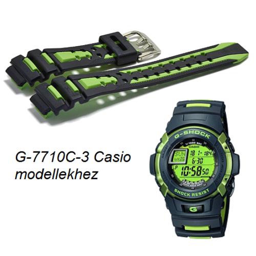 G-7710C-3 Casio fekete-zöld műanyag szíj