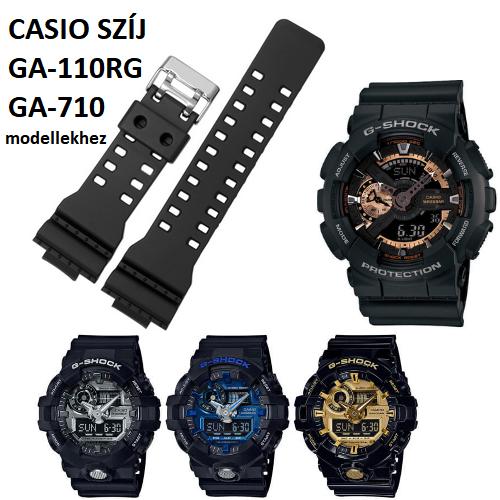 GA-110RG GA-710 Casio fekete műanyag szíj